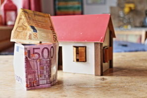 domček s50 euro bankovkou